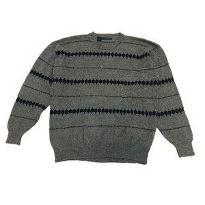 Claiborne Gray Striped Knit Crewneck Sweater